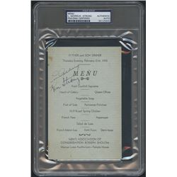Lou Gehrig  Ken Strong Signed Vintage Menu (PSA Encapsulated)