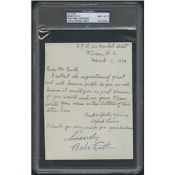 "Babe Ruth Signed Hand-Written Letter from a Fan Inscribed ""Sincerely"" (PSA Encapsulated)"