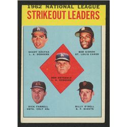 1963 Topps #9 NL Strikeout Leaders / Don Drysdale / Sandy Koufax / Bob Gibson / Billy O'Dell / Dick