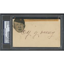 Cy Young Signed Vintage Government Postcard (JSA LOA  PSA Encapsulated)