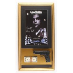 "Henry Hill Signed ""Goodfellas"" 17x32.5 Custom Framed Photo with Movie Replica Prop Money  Gun Inscri"