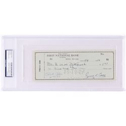 Ty Cobb  Pete Rose Signed 1954 Personal Bank Check - 4,000 Hit Club Members (PSA Encapsulated)