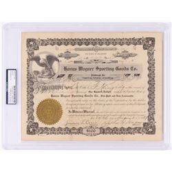 Honus Wagner Signed Original $100 Stock Certificate from Honus Wagner Sporting Goods Co. (PSA Encaps