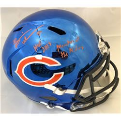 "Brian Urlacher Signed Bears Full-Size Blue Chrome Speed Helmet Inscribed ""HOF 2018""  ""Monsters of th"