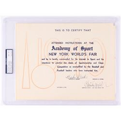 Babe Ruth  Christy Walsh Signed Original 1940 World's Fair Certificate (PSA Encapsulated)