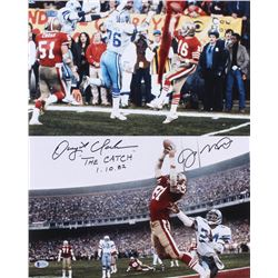 "Dwight Clark  Joe Montana Signed San Francisco 49ers 16x20 Photo Inscribed ""The Catch""  ""1-10-82"" (B"