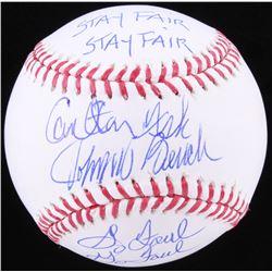 "Carlton Fisk  Johnny Bench Signed OML Baseball Inscribed ""Stay Fair""  ""Go Foul"" (JSA COA)"