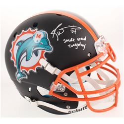 "Ricky Williams Signed Miami Dolphins Custom Matte Black Full-Size Helmet Inscribed ""Smoke Weed Every"