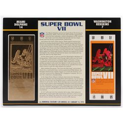 Commemorative Super Bowl VII Score Card With 22kt Gold Ticket: Miami Dolphins vs Washington Redskins