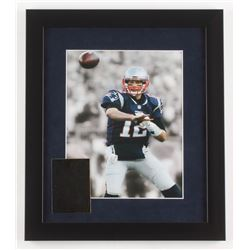 Tom Brady New England Patriots 13x15 Custom Framed Photo with 23 Kt Gold Card