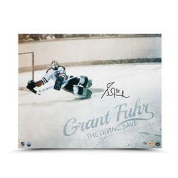 "Grant Fuhr Signed Edmonton Oilers ""The Diving Save"" LE 16x20 Photo (UDA COA)"