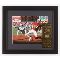 Jerry Rice  Deion Sanders 13x15 Custom Framed Photo Display with Super Bowl Gold Ticket