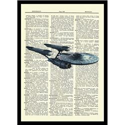 Starship Enterprise - Star Trek - Unique Original Antique Dictionary Page Art Print (8x10)