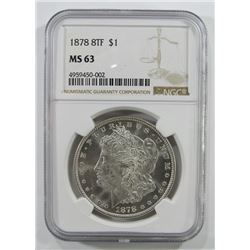 1878 8 Tail Feather Morgan Silver Dollar $ NGC MS