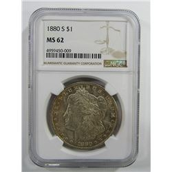 1880-S Morgan Silver Dollar $ NGC MS 62 Nicely Ton