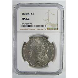 1880-O Morgan Silver Dollar $ NGC MS 62