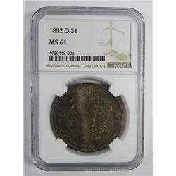 1882-O Morgan Silver Dollar $ NGC MS 61 Beautifull