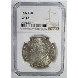 1882-S Morgan Silver Dollar $ NGC MS 63