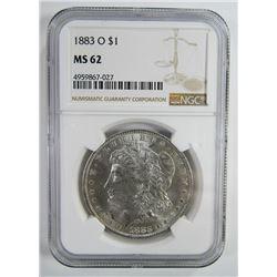 1883-O Morgan Silver Dollar $ NGC MS 62