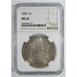 1885-P Morgan Silver Dollar $ NGC MS 62 Lightly To