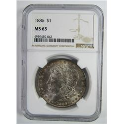 1886-P Morgan Silver Dollar $ NGC MS 63 Lightly To