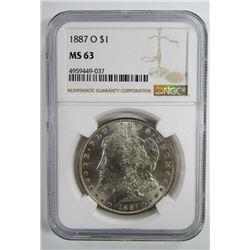 1887-O Morgan Silver Dollar $ NGC MS 63 Blast Whit