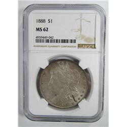 1888-P Morgan Silver Dollar $ NGC MS 62 Lightly To