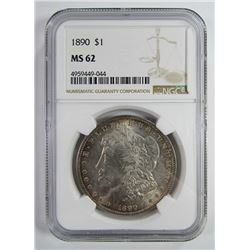 1890-P Morgan Silver Dollar $ NGC MS 62 Lightly To