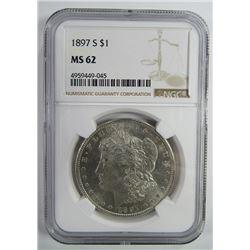 1897-S Morgan Silver Dollar $ NGC MS 62