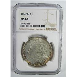 1899-O Morgan Silver Dollar $ NGC MS 63 Lightly To