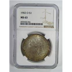 1902-O Morgan Silver Dollar $ NGC MS 63 Nicely Ton