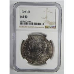 1903 Morgan Silver Dollar $ NGC MS 63 Nicely Ton