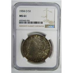 1904-O Morgan Silver Dollar $ NGC MS 61 Nicely Ton