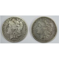 1892-O & 1878-S MORGAN SILVER DOLLARS