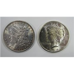 1888 MORGAN & 1925-S PEACE SILVER DOLLARS