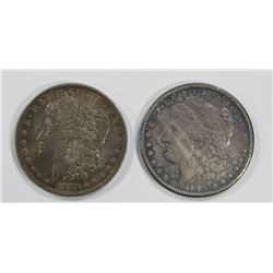 1881-S PROOF LIKE AU & 1883-O XF MORGAN $