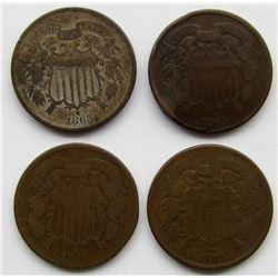 4- 1865 TWO CENT PIECES