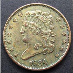 1834 HALF CENT XF/AU