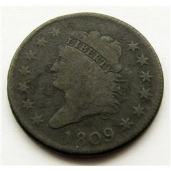 1809 CLASSIC HEAD LARGE CENT VG/F