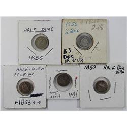 5- SEATED HALF DIMES: 1841 AG, 1850 AG,