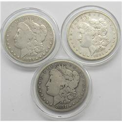 3-CIRC MORGAN DOLLARS: 2-1883 & 1881-O
