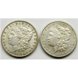 1900-S & 1901-O MORGAN DOLLARS VF