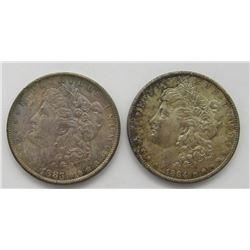 1883-O & 1884-O BU RAINBOW TONED MORGANS