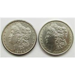 1878-S & 1880 BU MORGAN DOLLARS
