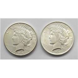 1923-S & 1922 PEACE DOLLARS BU