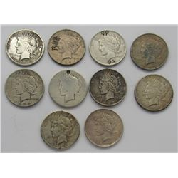 10-Peace Silver Dollars damged or holed