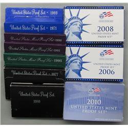 10 U.S. PROOF SETS MIX YEARS 1969-2010