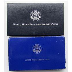 1993 2 COIN WW II SILVER COMMEM SET;