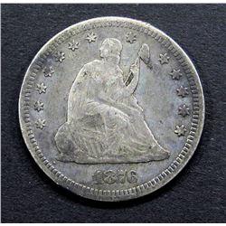 1876 SEATED QUARTER- FINE+