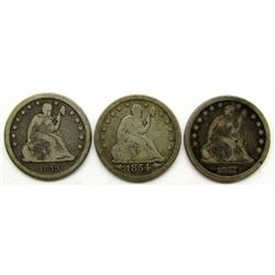 3-SEATED QUARTERS: 1859, 1877, 1854 ARROWS VG'S